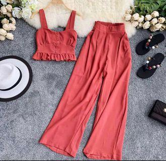 🌷(PO) Fae Crop Top And Flare Pants Set
