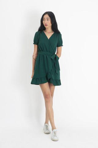 AforArcade Rosa Frill Dress in Forest (M)