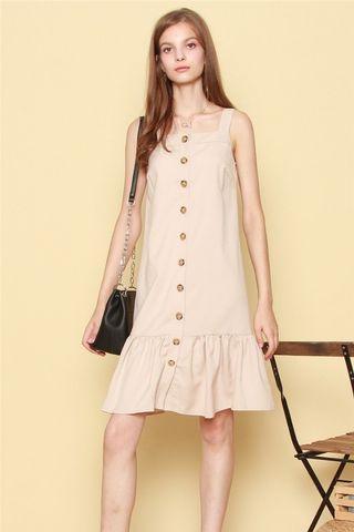 Anticlockwise Linen Dropwaist Button Dress in Khaki (M)