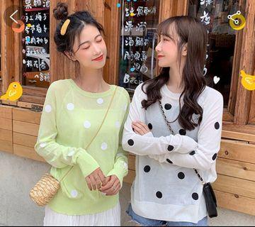 Korean new fashion ulzzang new chic retro vintage temperament summer autumn spring break student college wind wave point polka dot sheer knitted long sleeve 2019 blouse