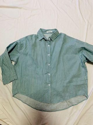 BN Korean Oversize Stripe Shirt (mint)