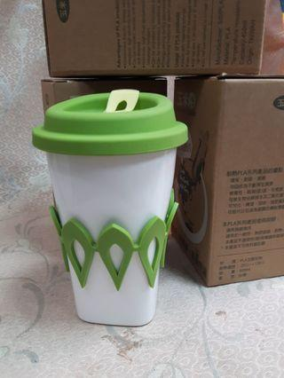 3個100 玉米田 PLA 環保杯 450ml 附蓋無毒可微波 耐高低溫