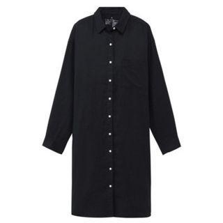 🚚 MUJI無印良品 * 全新暗藍L號 法國亞麻水洗襯衫洋裝 (原價$1790 , 標籤未拆)