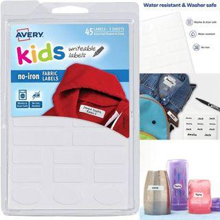 BNIP: Avery No-Iron Kids Clothing Labels, Washer & Dryer Safe, Writable Fabric Labels, 45 Assorted Shapes & Sizes -Package may vary
