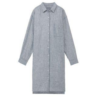 🚚 MUJI無印良品 * 全新直條紋L號 法國亞麻水洗襯衫洋裝 (原價$1790 , 標籤未拆)