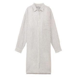 🚚 MUJI無印良品 * 全新白條紋L號 法國亞麻水洗襯衫洋裝 (原價$1790 , 標籤未拆)