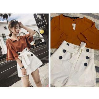 (BNWT) Lady brown top + white shorts 1 set
