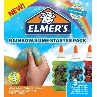 BNIB: Elmer's Rainbow Slime Starter Kit with Green, Blue and Red Glitter Glue, 6 Ounces Each, 3 Count