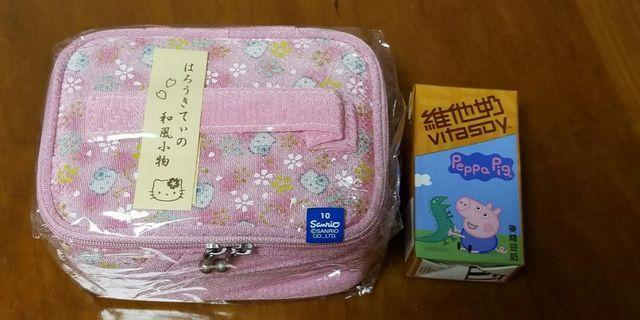 Hello Kitty粉紅色和布化妝袋