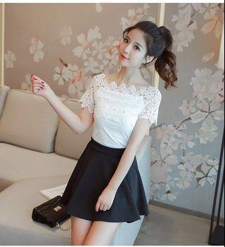 White Off Shoulder top Elegant Office wear
