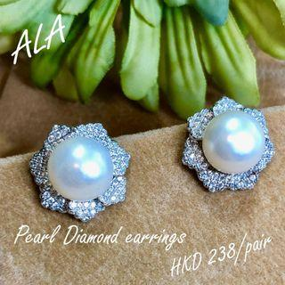 925 純銀10mm珍珠水鑽耳環耳釘 925silver 10mm pearl cz diamond earrings *ALA mama*