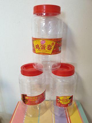 3 Nos of Plastic Containers, H = 26.5cm, Dia = 14cm