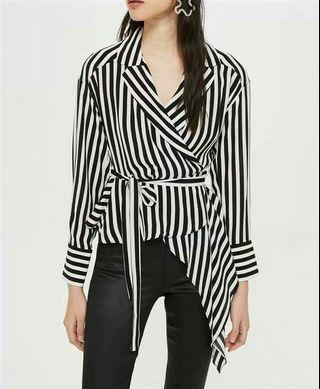 Stripe wrap irregular blouse