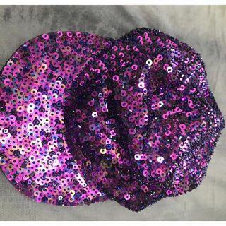 Seadragon Studio Purple Holographic Hand Beaded Sequin Hat Cap Festival