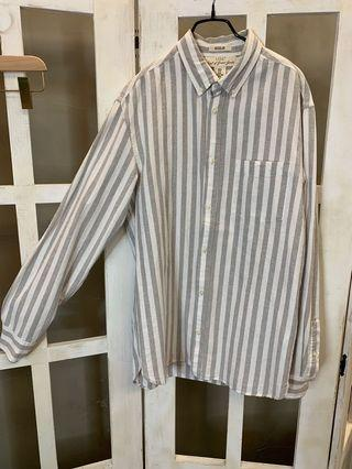 🚚 H&M 條紋長袖襯衫
