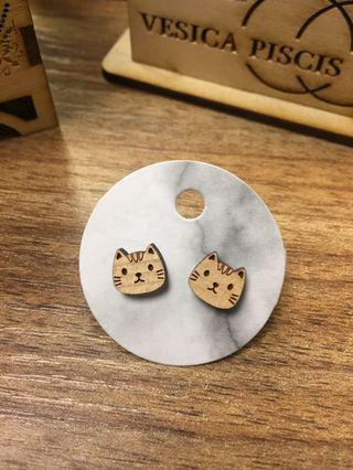 貓貓 木刻 耳環 laser cut