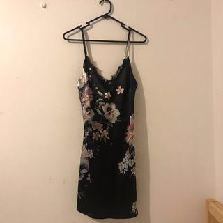Silk floral slip on dress