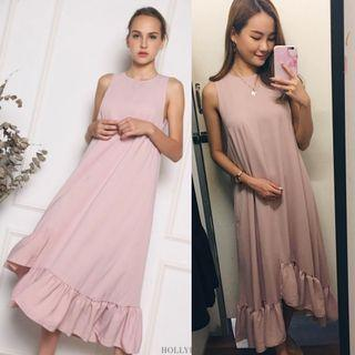 Hollyhoque Aurora Ruffles Maxi Dress in Dust Pink