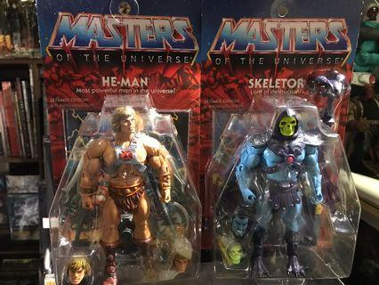 Super 7 Master Of The Universe Set Of 2 : He-Man & Skeleton  Action Figure Rare