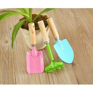 🚚 (三件套)家庭園藝工具迷你木柄鐵鏟 圓鏟 耙子 種植花草工具組