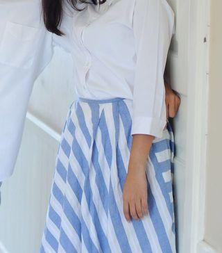 Midi Skirt Striped Blue