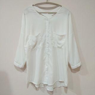 🚚 後背交叉雪紡白襯衫
