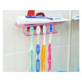 🚚 創意免釘無痕粘貼式多功能牙刷架 組合牙膏架 牙刷置物架 牙刷掛架 禮品 贈品