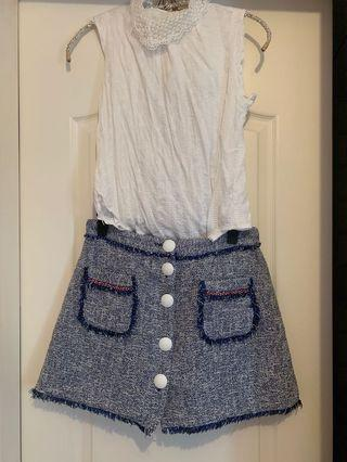 New White top/ Zara blue tweed skirt
