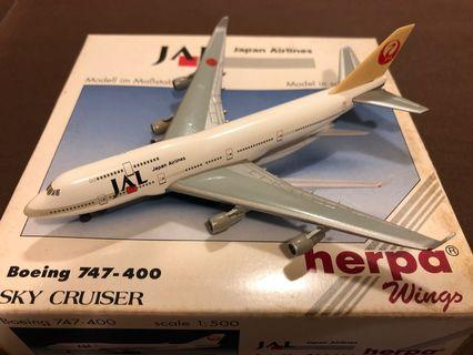 JAL Boeing 747-400 飛機模型 (Scale 1:500)