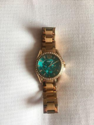 Fossil watch with turquoise face