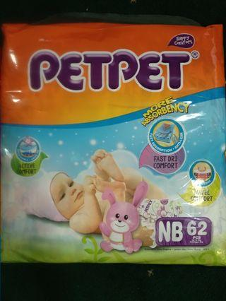 NEW and unopened! PETPET NB62 Tape diapers (for newborns - 62pcs)