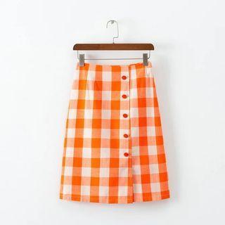 韩版高腰红白格子包臀顯瘦中長款裙子