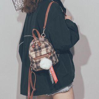 🚚 現貨-毛呢韓版格子撞色小包咖單肩雙肩兩用包