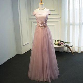 Bridesmaid Dress Pink Long Dress Long Gown Gaun Panjang Pink