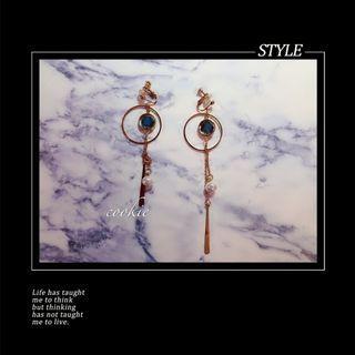 # 夾式大賞 # 藍寶石大環不對稱垂墜夾式耳環