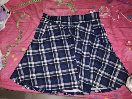Cotton On Skirt 藍色格子半身裙