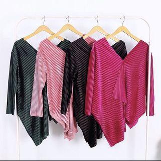 Asimetris top blouse plisket