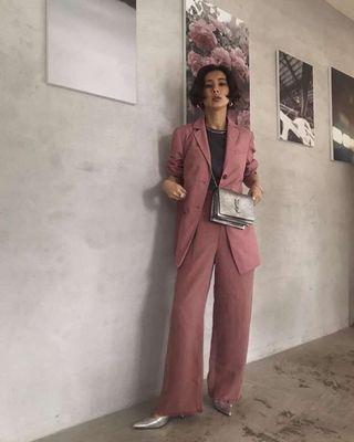 (🇯🇵日本代購) 日幣¥14,904円【AMERI】代官山夢幻逸品毛邊顯瘦顯腿長休閒直筒粉紅長褲 全新
