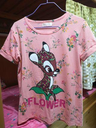 Flower and deer T-shirt 碎花鹿t-shirt