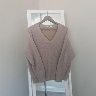 uniqlo grey v-neck knit sweater