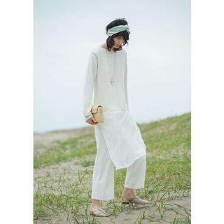 (🇯🇵日本代購) 日幣¥14,904円【AMERI】代官山夢幻逸品毛邊顯瘦顯腿長休閒直筒白色長褲 全新