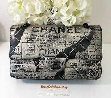 Authentic Limited Edition Chanel Graffiti Medium Flap - Gunmetal hardware