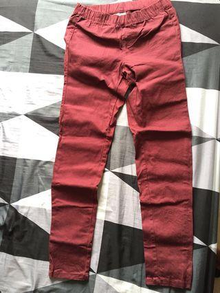 NET鉛筆褲 酒紅色