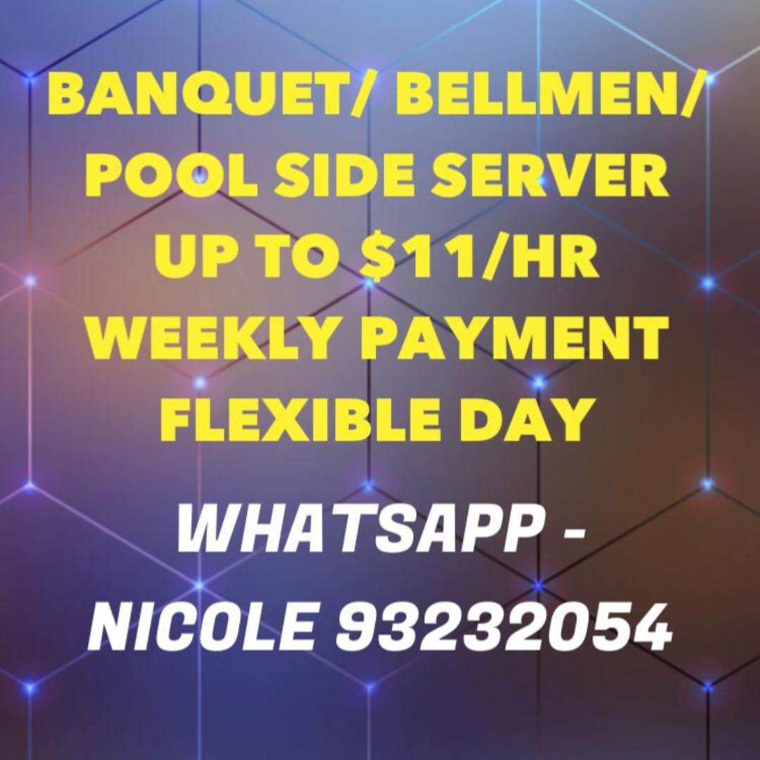 $10 - $11/HR Part Time BANQUET SERVER on 12th May (Sun)