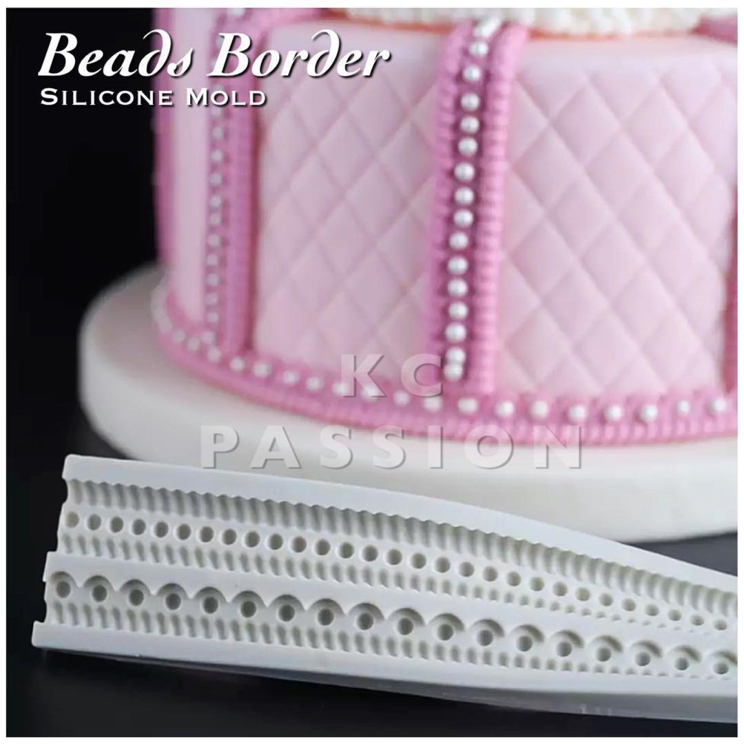 🎂 BEADS BORDER SILICONE MOLD Tool for Pastry • Chocolate • Fondant • Gum Paste • Candy Melts • Jelly • Gummies • Agar Agar • Ice • Resin • Polymer Clay Craft Art • Candle Wax • Soap Mold • Chalk • Crayon Mould