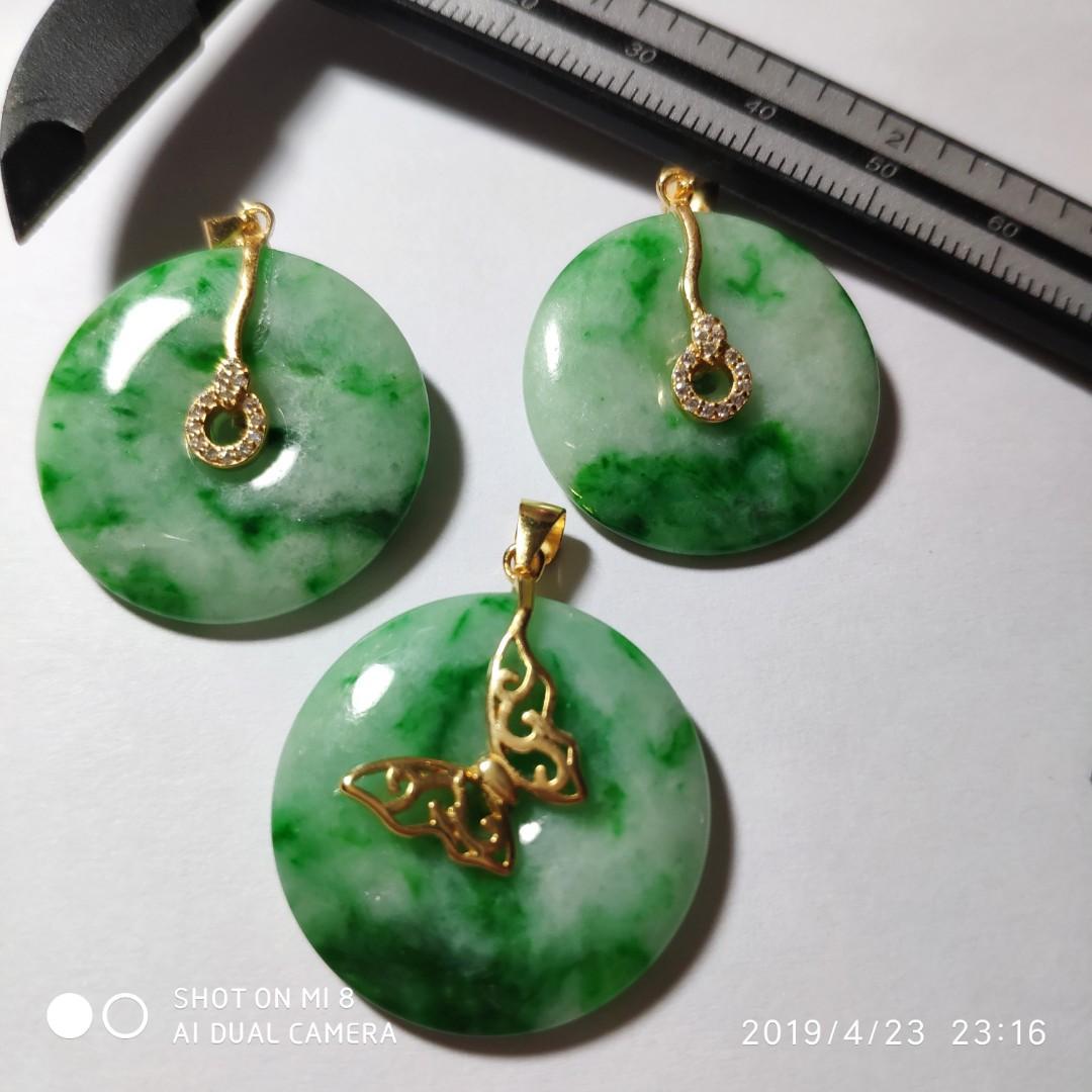 包A天然翡翠辣綠銀鑲平安扣