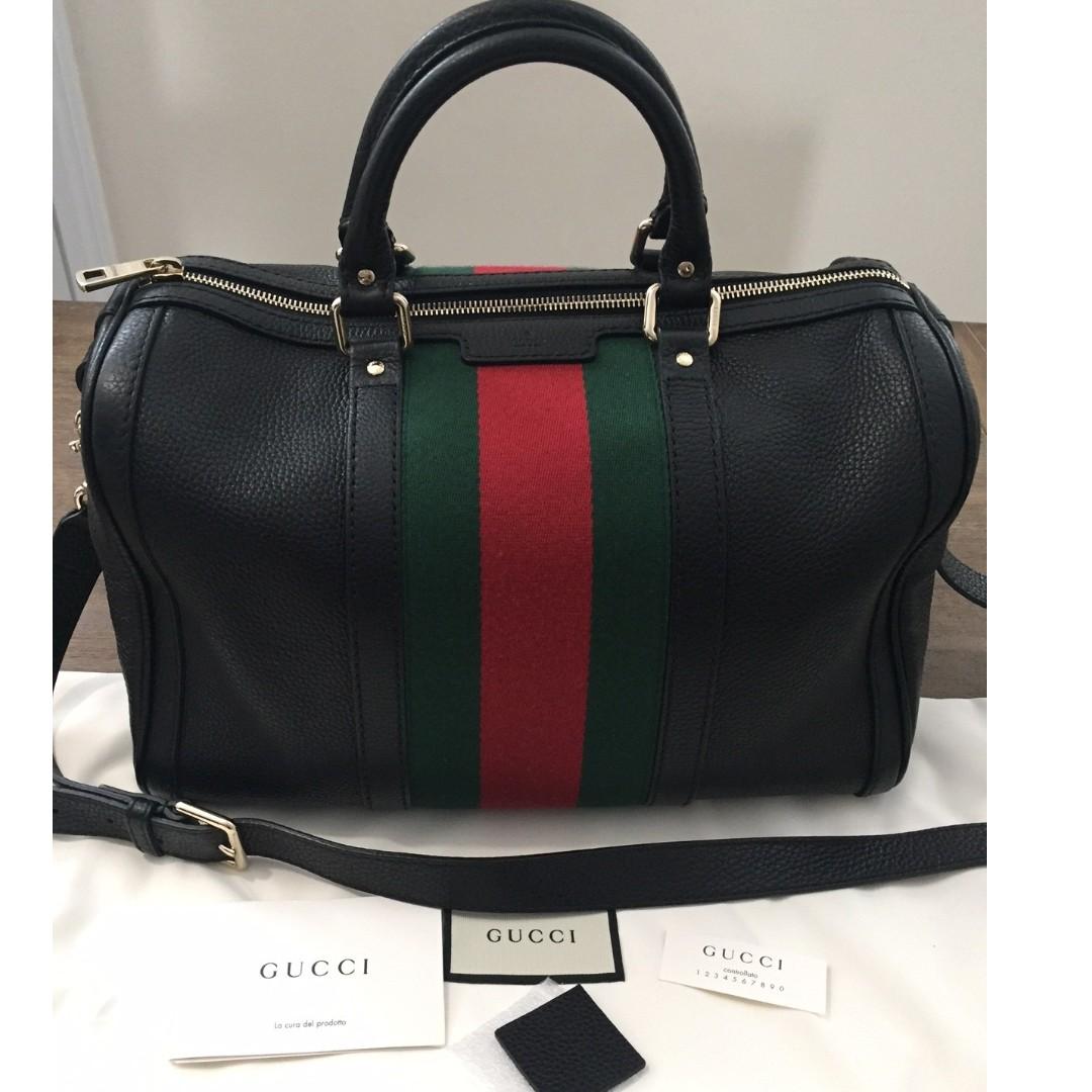 9df6055da43 Authentic Gucci Vintage Web Boston Bag - MINT condition!