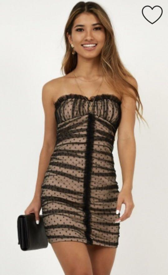 Black and nude mesh polka dot mini dress with ruched detail / bandeau style / great fit