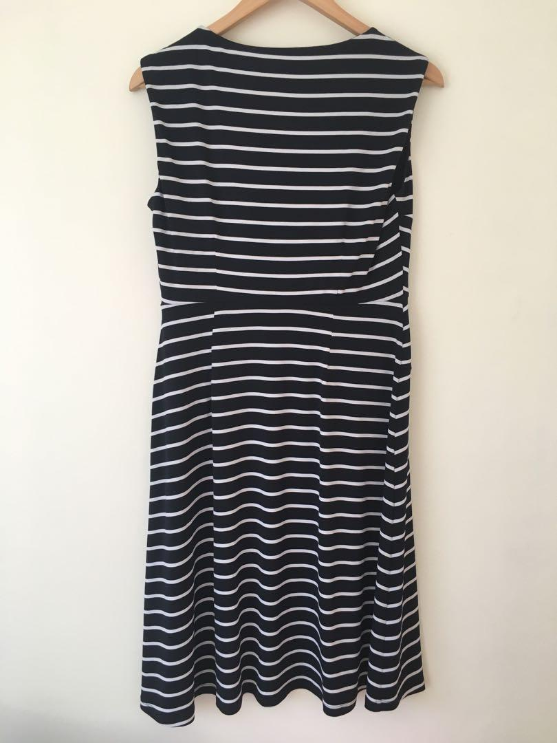 Brand new Jacqui E navy dress with stripes size small (8-10)