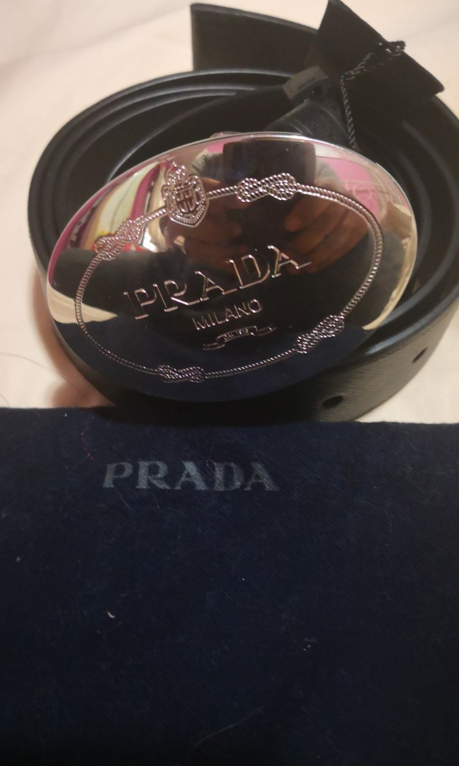 e63ba455c7f3e Brand New Prada 2CM046 Black Saffiano Leather Belt with Silver Buckle,  Luxury, Accessories, Belts on Carousell